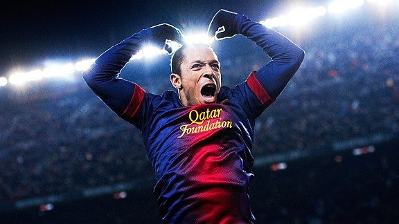 Adriano scored Barcelon's third of the night as they thrashed Athletic Bilbao at the Camp Nou