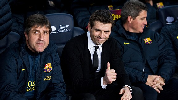 Tito Vilanova was back in the Barcelona's dugout as they thrashed Espanyol 4-0 at the Camp Nou