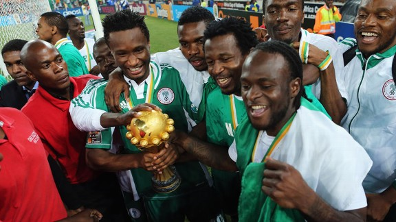 Chelsea's John Obi Mikel and Victor Moses led Nigeria's celebrations