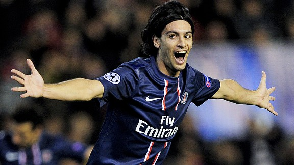Javier Pastore celebrates after putting PSG two up at Valencia