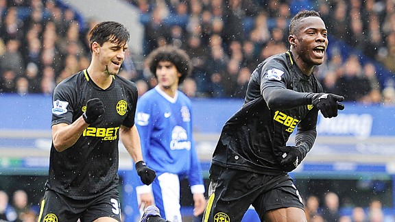 Maynor Figueroa celebrates after heading Wigan into the lead at Everton
