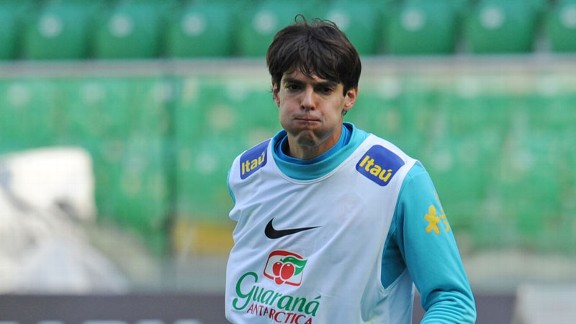 Kaka is the most capped player in Brazil's squad