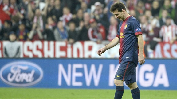 Lionel Messi Barcelona dejected v Bayern Munich