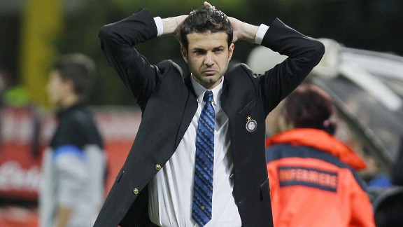 Inter manager Andrea Stramaccioni looks on as his side play Lazio