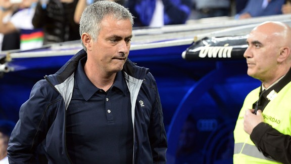 Jose Mourinho deep in thought during Real Madrid's game against Malaga