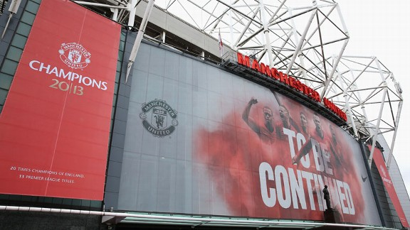 Old Trafford outside champions 2013 stadium