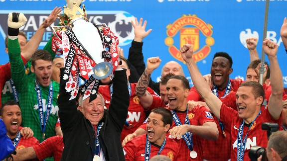 Sir Alex Ferguson celebrates his final Premier League title win with Manchester United