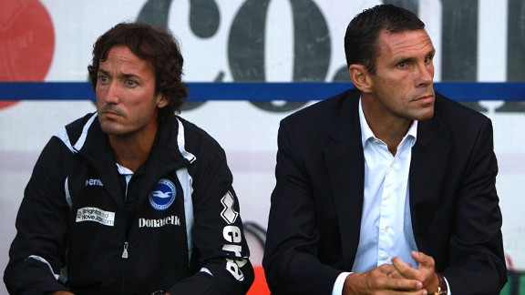 Gus Poyet, alongside assistant Mauricio Taricco, took over at Brighton in 2009