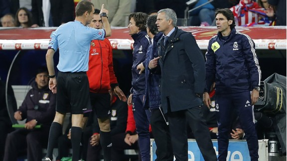 Jose Mourinho is sent to the stands during Real Madrid's Copa del Rey defeat to Atletico Madrid