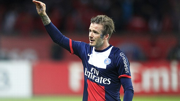 PSG's David Beckham struggles to hold back the tears as he leaves the pitch against Brest