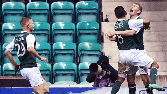 David Wotherspoon (r) also scored for Hibs in the Edinburgh derby against Hearts in December