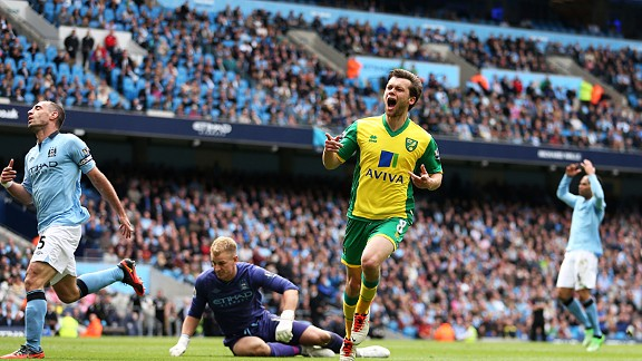 Joy for Jonathan Howson after he scored a stunning goal to put Norwich 3-2 up at Man City