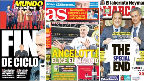 Jose Mourinho Spanish newspapers TSP front covers splash