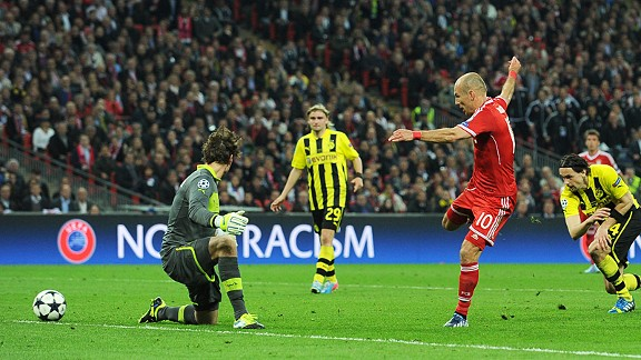 Arjen Robben slides his shot past Roman Weidenfeller to win the Champions League for Bayern Munich