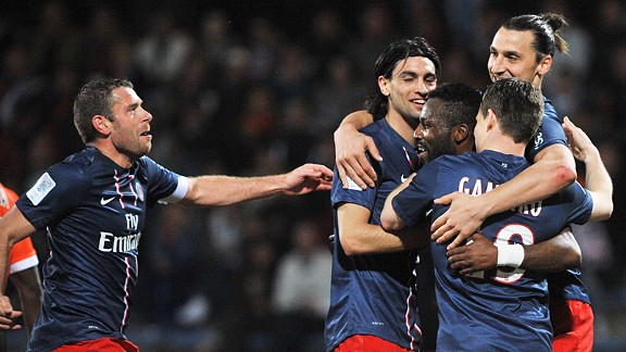 PSG celebrate one of Kevin Gameiro's goals in the winer over Lorient
