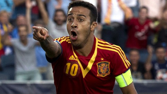 Thiago Alcantara celebrates during his masterclass for Spain against Italy