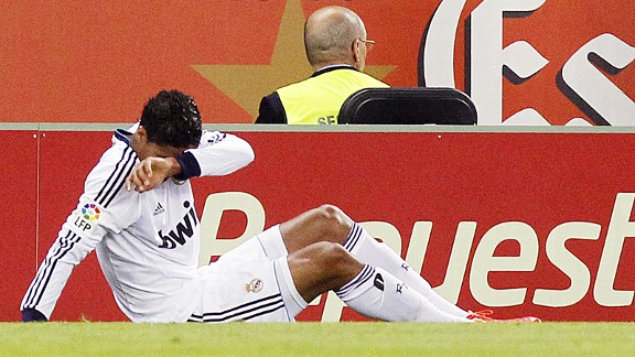 Rafael Varane goes down with a knee injury during May's La Liga game at Espanyol