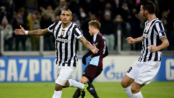 Arturo Vidal gave Juventus the lead against Copenhagen in the Champions League.