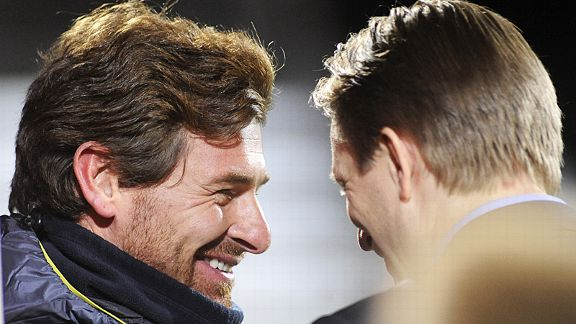 Andre Villas-Boas smiles as he talks to Tromso's Steinar Nilsen