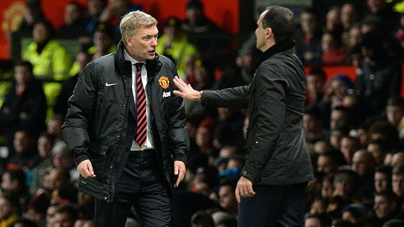 David Moyes and Roberto MArtinez Man Utd vs. Everton