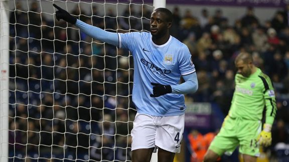 Yaya Toure second goal celeb Man City vs. West Brom