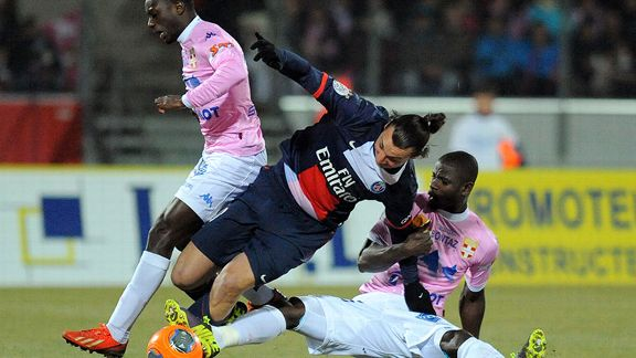 Zlatan Ibrahimovic couldn't find the back of the net against Evian.