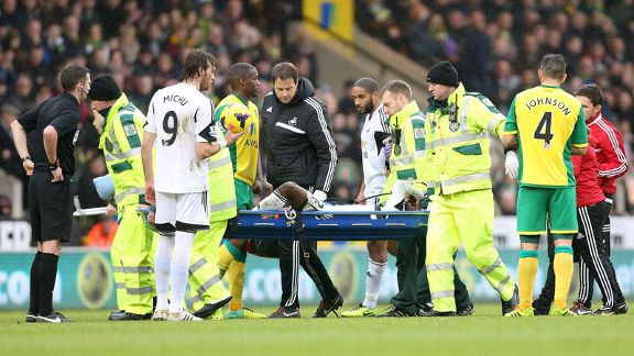 Nathan Dyer was transferred to hospital by ambulance following Sunday's injury.