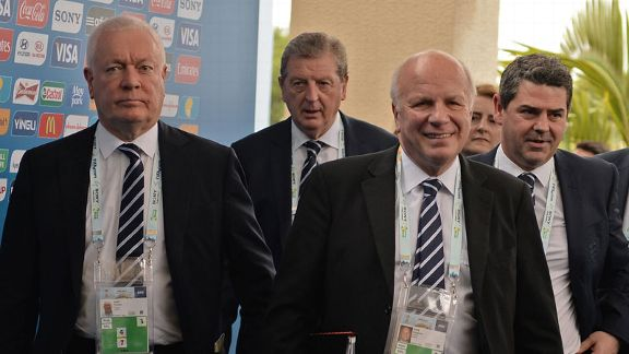 FA chairman Greg Dyke alongside England manager Roy Hodgson at the 2014 World Cup draw.