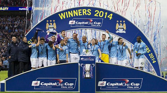 Man City celebrate winning the Capital One Cup.