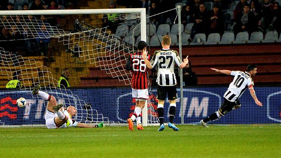 Antonio Di Natale wheels away in celebration after scoring Udinese's winner against AC Milan.