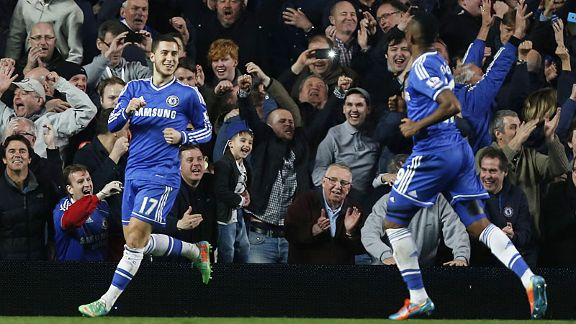 Eden Hazard and Samuel Eto'o were both on target as Chelsea thrashed Spurs.
