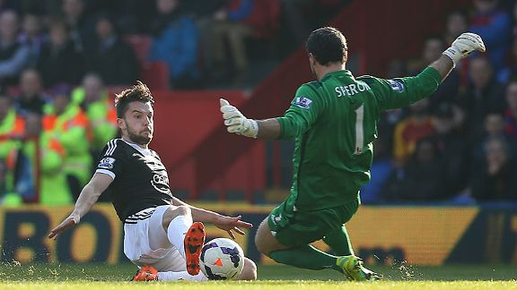 Jay Rodriguez slides in to give Southampton the lead at Crystal Palace.