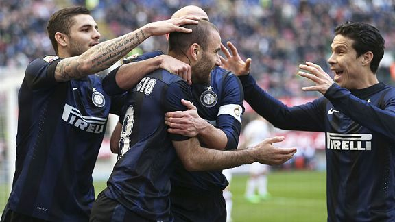 Rodrigo Palacio is mobbed after putting Inter Milan in front against Torino.