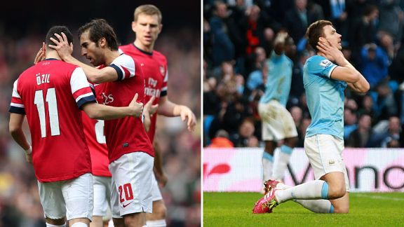 Arsenal Manchester City split photo joy woe