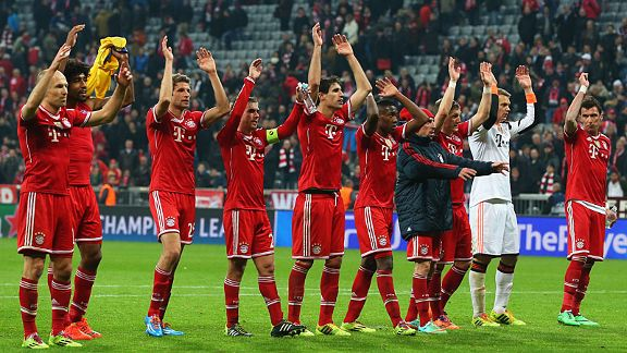 Bayern Munich celebrate their fans at full-time.