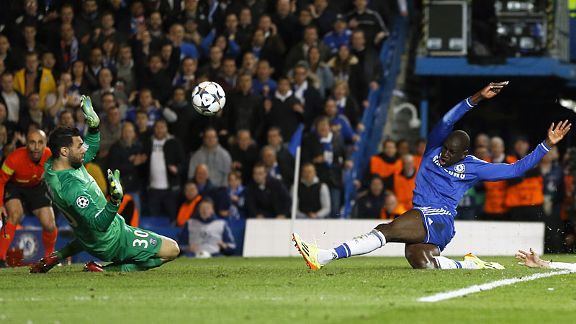 Demba Ba scores the dramatic 87th-minute goal which edged Chelsea past PSG.