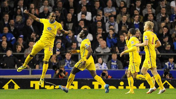 Cameron Jerome celebrates after scoring Palace's third as Everton threatened a comeback.