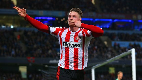 Sunderland striker Connor Wickham celebrates after scoring his first goal against Manchester City.