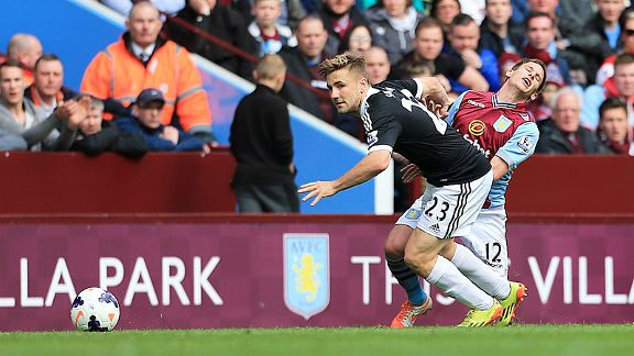 Southampton defender Luke Shaw keeps Villa's Marc Albrighton at arm's length.