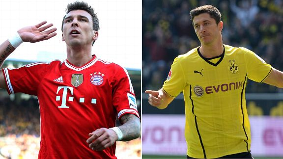 Mandzukic and Lewandowski splitscreen