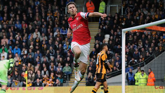 Aaron Ramsey celebrates after scoring against Hull City.