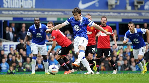 Leighton Baines fires Everton in front from the penalty spot.