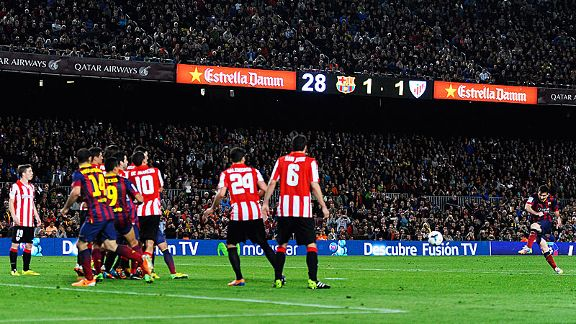 Lionel Messi unleashes the free kick which put Barcelona in front at home to Athletic Bilbao.