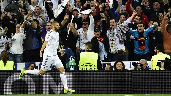 Karim Benzema celebrates his 19th-minute goal which gave Real Madrid the lead against Bayern Munich.