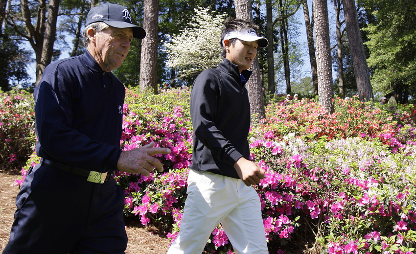 Danny Lee and Gary Player at the Masters