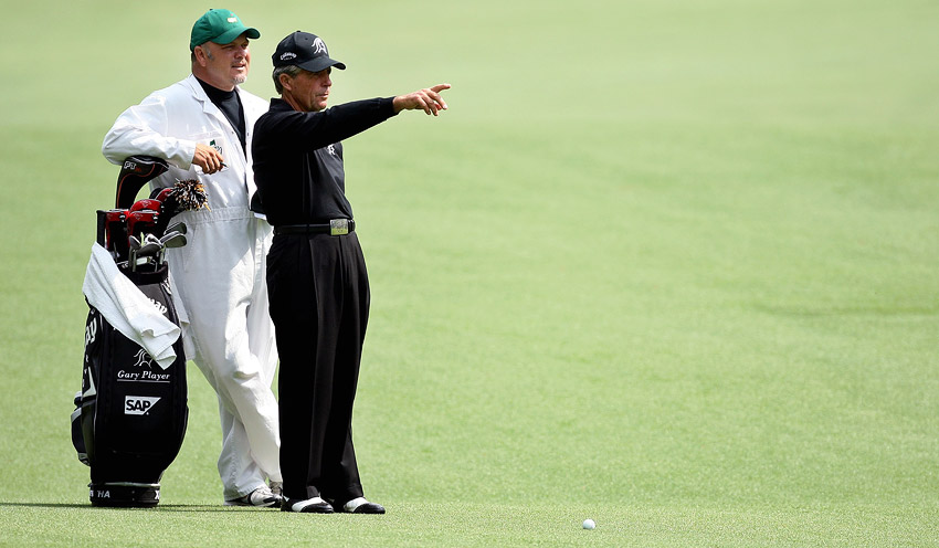 Gary Player with caddie at the Masters