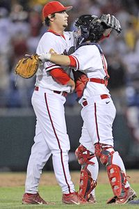Fresno State closing pitcher Brandon Burke, catcher Ryan Overland