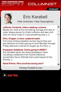 Click here to add the Eric Karabell widget.