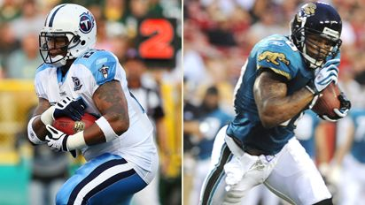 LenDale White, left, and Fred Taylor, right, have a team-first