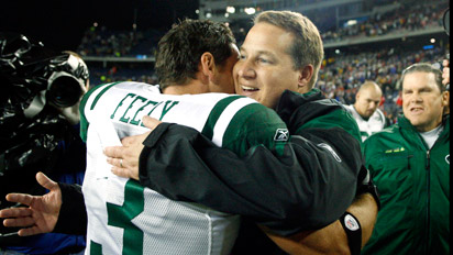 ap photo winslow townson jay feely and eric mangini celebrate the win